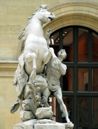 A view of one of the pair of sculptures by Coustou known as The Marly Horses.