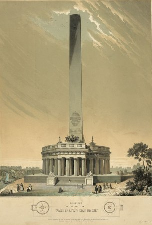 The original design for the Washington Monument by Robert Mills (shown here) was altered drastically over time.