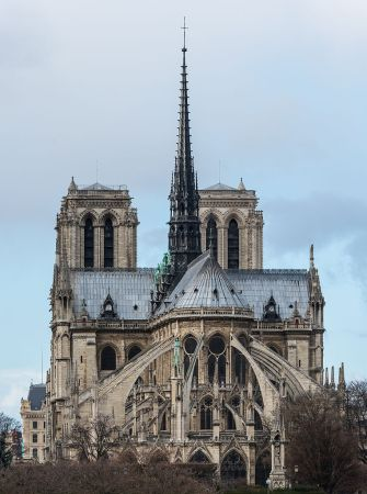 A view of the east side of Notre Dame Cathedral, showing the flying buttresses.