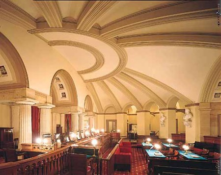 Benjamin Latrobe designed much of the original interior space of the U.S. Capitol, including the original Supreme Court chamber, shown here.