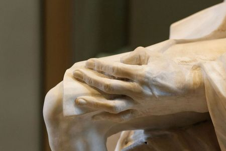 Detail of Pigalle's statue of Voltaire, showing the hand. The sculpture was attacked at the time for its 'warts and all' realism.