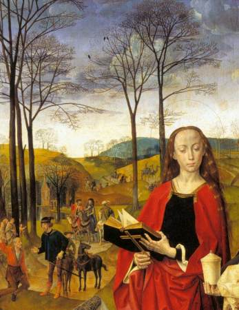 Detail from the central panel of the Portinari Altarpiece, showing the Procession of the Magi in the background.