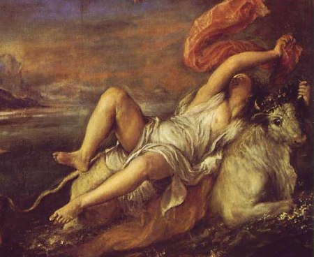 Detail of Titian's Rape of Europa showing Europa being abducted by Zeus, in the form of a bull.