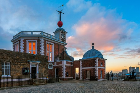 A portion of the Royal Observatory in Greenwich, UK, which was designed by Christopher Wren.