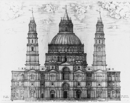 Sangallo's plans for St. Peter's Basilica (shown above) were never realized.