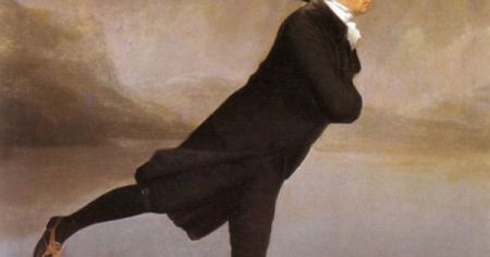 Detail of The Skating Minister, which many believe is not the work of Henry Raeburn but of French painter Henri-Pierre Danloux.