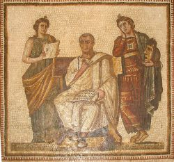 A 3rd Century CE mosaic of Virgil holding the Aeneid, accompanied by the muses of history and tragedy. It is in the Bardo Museum in Tunis.