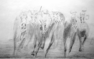 Drawing, impression of a line of horses fighting out the finish at the last strides. Circa about 1985