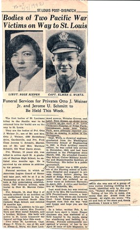 1942 St. Louis Post-Dispatch newspaper clipping on Rieper