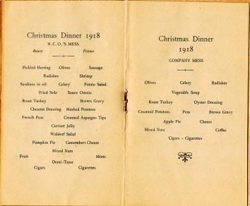 Portion of Base Hospital 21 Christmas Day menus