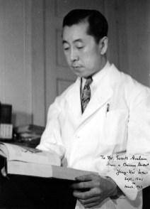 Portrait photograph of Ying-Kai Wu addressed to Evarts Graham, 1940s.