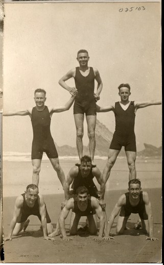Nushan, center bottom, and other members of the Scrap Iron Jazzerinos enjoying themselves, circa 1919