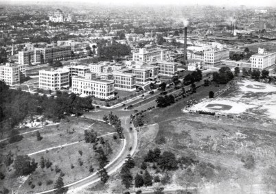 Aerial view of completed medical center, 1916