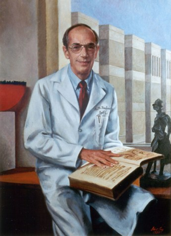 """Oil portrait of Becker holding his favorite book: Georg Bartisch's """"Opthalmodouleia."""""""