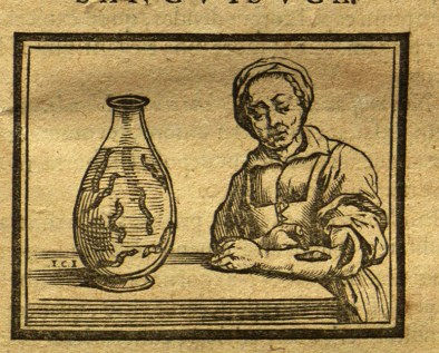 This image from Bossche shows a woman applying leeches to her skin.