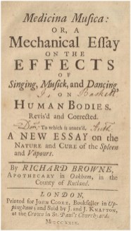 Title page of Richard Browne's treatise on music.