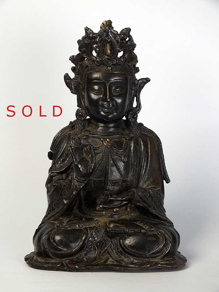 A-Chinese-bronze-seated-figure-of-a-Bodhisattva-Ming-Dynasty