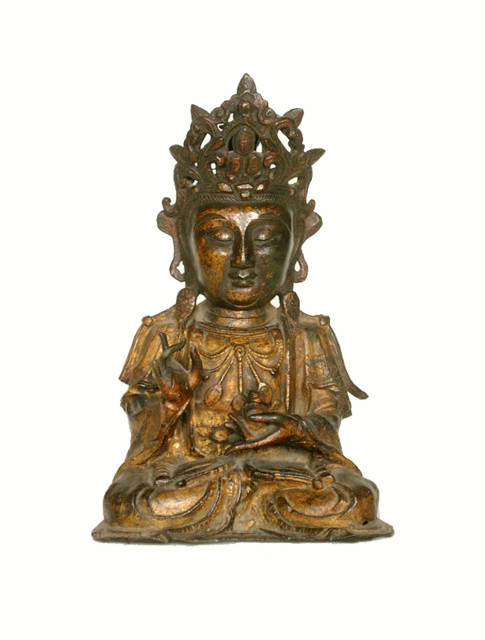 GILT - BRONZE FIGURE OF AMITABHA