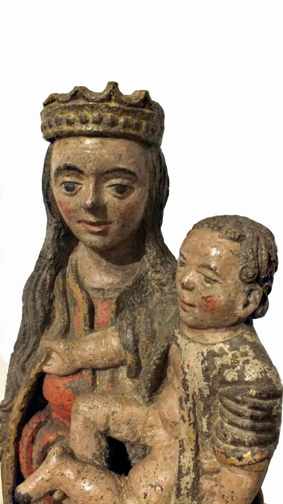 Stone Polychrome Sculpture Virgin and Child