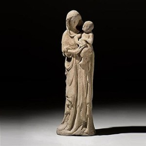 LARGE LIMESTONE GROUP VIRGIN CHILD