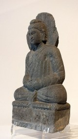 Gray Schist Figure Seated Buddha (3)
