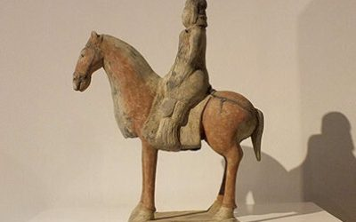 Painted Gray Pottery Equestrian Figure