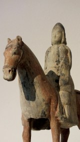 Painted Gray Pottery Equestrian Figure (5)