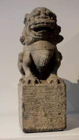Large Gray Stone Seated Lion (4)