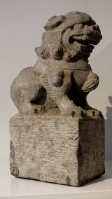Large Gray Stone Seated Lion (5)