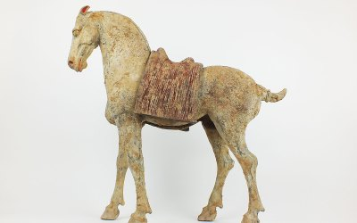 Rare Pottery Striding Horse