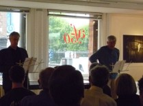 Barry McGovern and Gerry Dukes speaking at the Alliance Francaise