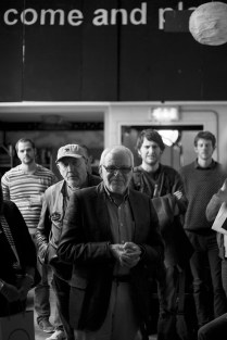 John Minihan and audience members await entry to the Performance Workshop Presentation 2014