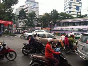 Busy street traffic in Vietnam