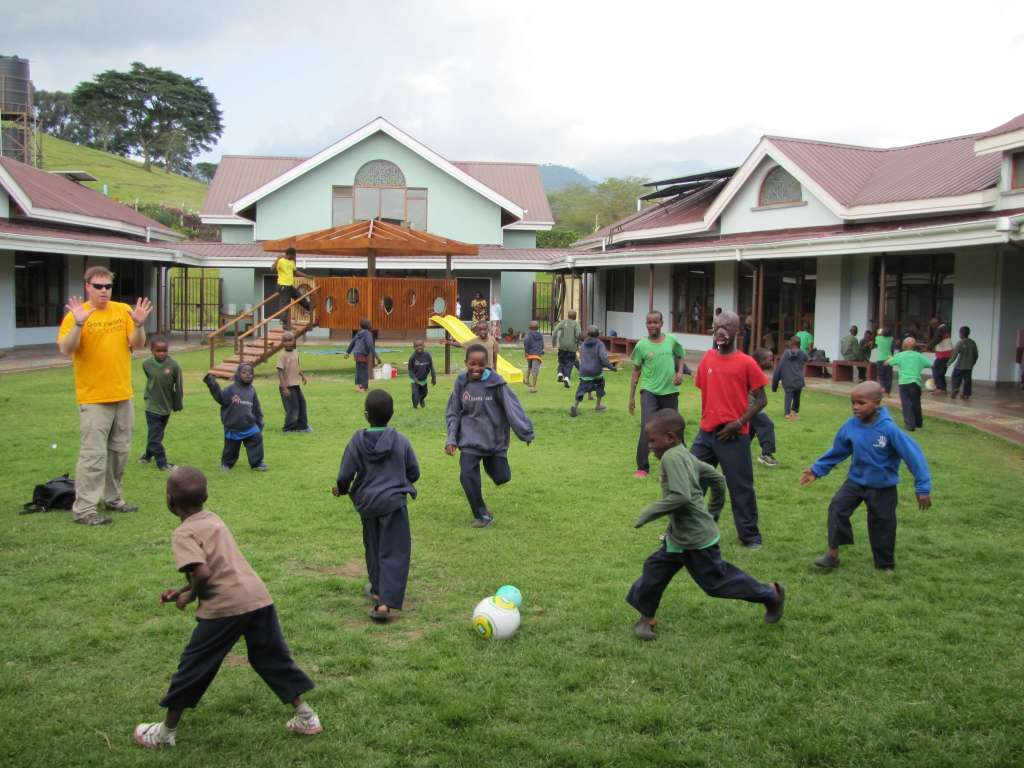 Soccer on playground
