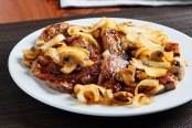 Strip Steak with Bourbon Onion-Mushroom Sauce