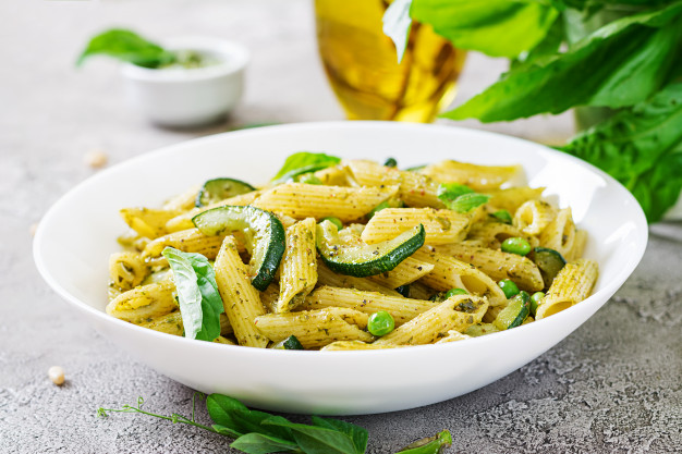 Penne with Snap Peas and Zucchini