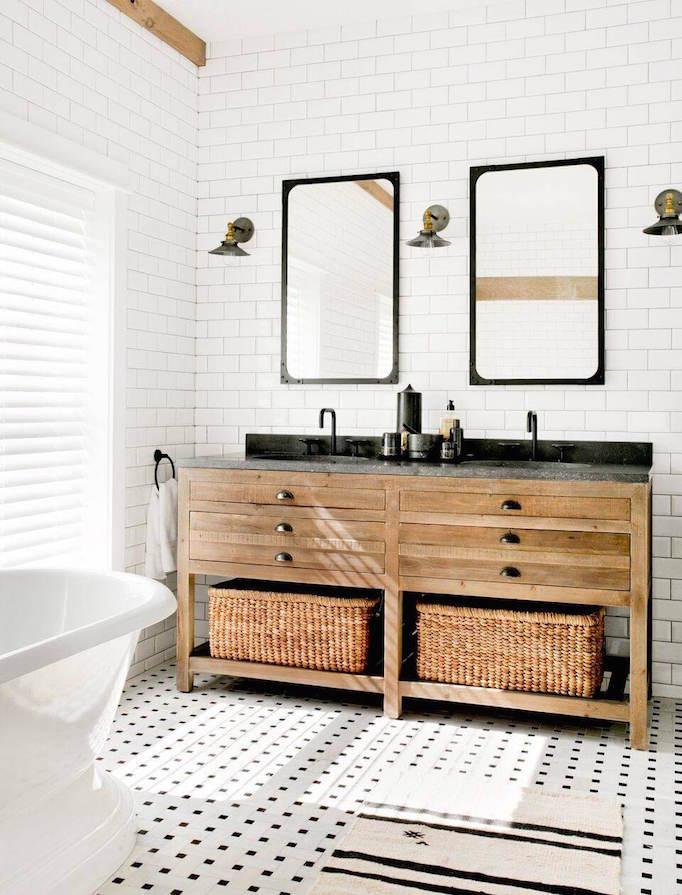 25 Fresh Farmhouse BathroomsBECKI OWENS on Farmhouse Bathroom Tile  id=96390