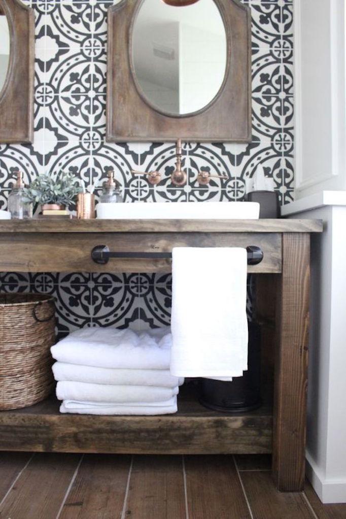 25 Fresh Farmhouse BathroomsBECKI OWENS on Farmhouse Bathroom Tile  id=22744