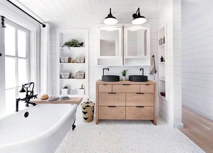 bright white shiplap black modern touches - Modern Farmhouse Bathroom