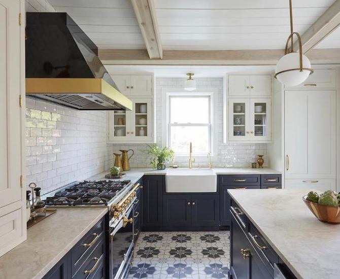 Navy blue kitchen with cement tile floor, subway tile, and midcentury modern pendant. Come see 36 Best Beautiful Blue and White Kitchens to Love! #blueandwhite #bluekitchen #kitchendesign #kitchendecor #decorinspiration #modernfarmhousekitchen
