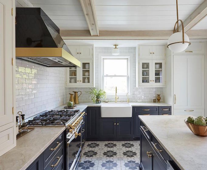 Superieur Navy Blue Kitchen With Cement Tile Floor, Subway Tile, And Midcentury  Modern Pendant.