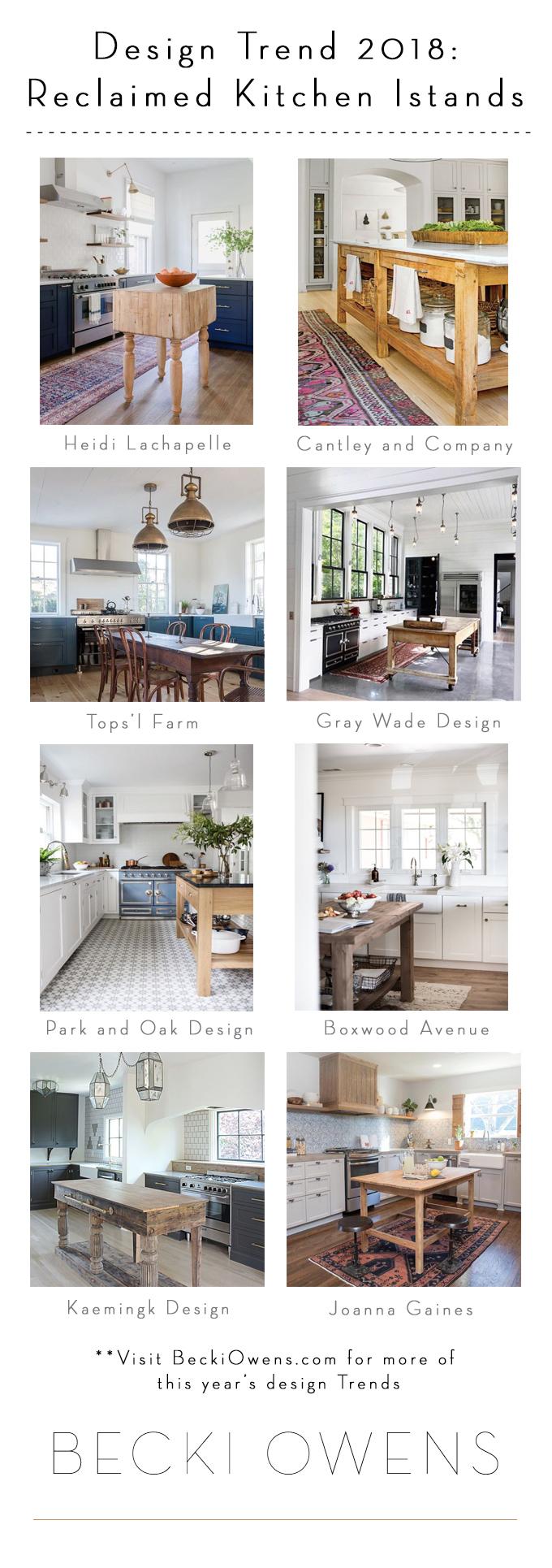 Design Trend 2018 Reclaimed Kitchen Islands Becki Owens