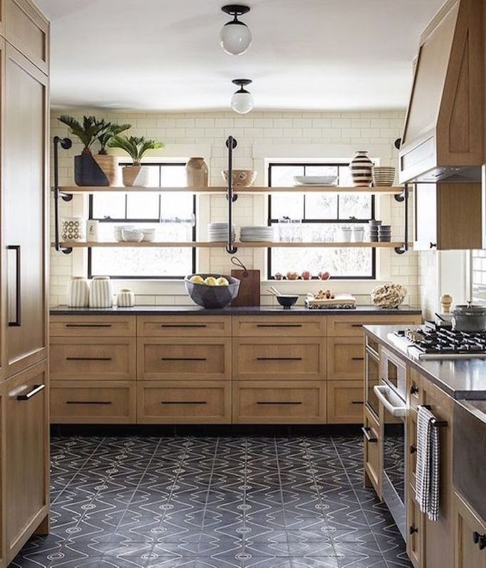 Kitchen Trend Open Shelving In Front Of Windowsbecki Owens