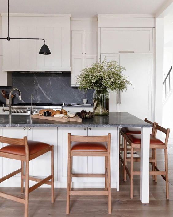 Creamy and Black Kitchen Wood Counter Stools