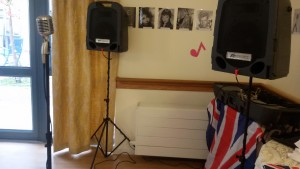 Becki's vintage replica microphone set up at a care home in the South, UK