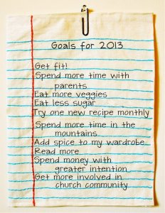 Becky Prater's goal list for 2013