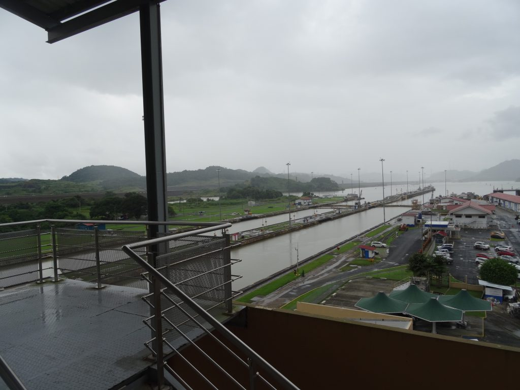 The Panama Canal on a rainy day