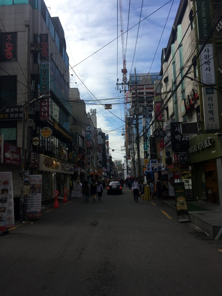 The famous Hongdae district in Seoul, South Korea