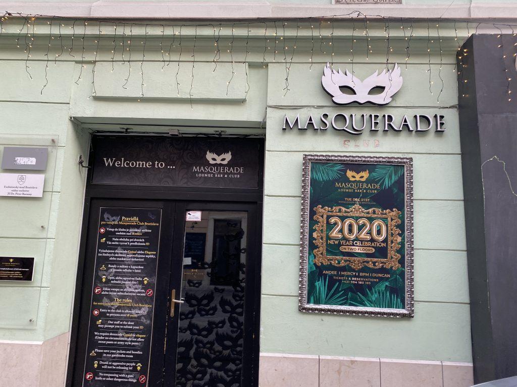 Entrance to Masquerade Club in Bratislava; ultimate guide to Bratislava