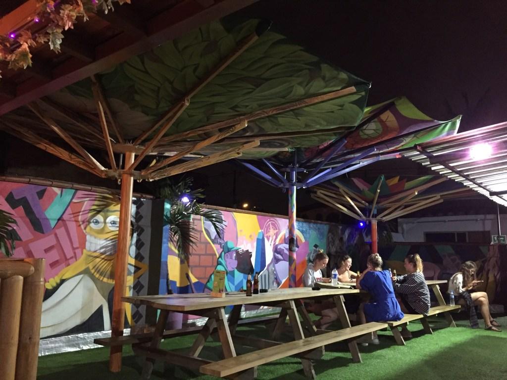 Rooftop bar at Purple Monkey hostel